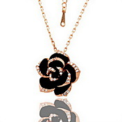 18K Gorgeous Fashion Rhinestone Alloy Flower Necklace (More Colors)