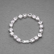 Amazing Silver Plated White Crystal Women's Bracelet