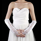 Satin Elbow Length Fingerless Bridal Gloves With Embroidery (More Colors)