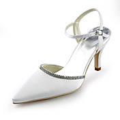 Satin Stiletto Heel Pointy Toe Sandals With Rhinestone Wedding Shoes (More Colors)