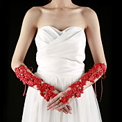 Lace Fingerless Elbow Length With Appliques / Rhinestone Bridal Gloves (More Colors)