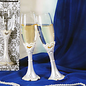 Open Heart Wedding Toasting Flute Set With Epoxy