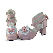 Pink PU Leather 7.5cm High Heel White Trimming Lace Sweet Lolita Shoes with Bow