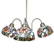 Tiffany Glass Chandeliers with 3 Lights in Floral Design