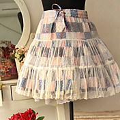 Short Checked Pattern Mori Girl Style Country Lolita Skirt