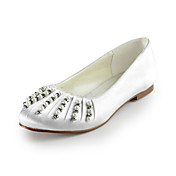 Satin Flat Heel Closed Toe With Imitation Pearl Wedding Party Women's Shoes