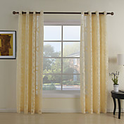 (Two Panels) Yellow Polka Dots Sheer Curtains
