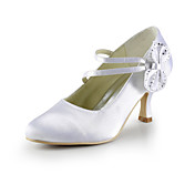 Gorgeous Satin Stiletto Heel Pumps With Satin Flower Wedding Party Women's Shoes