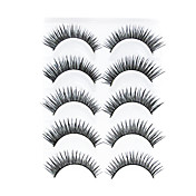 5 Pair Black Handmade lengthening FiberFalse Eyelashes