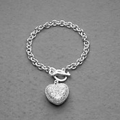 Fashion Silver Plated Rhinestone Heart Charm Women's Bracelet