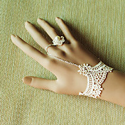 Handmade White Lace Princess Lolita Bracelet with Pearl Ring