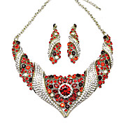 Amazing Alloy With Red Crystal Women's Jewelery Set Including Necklace,Earrings