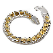 Fashion Silver And Gold Plated 10MM Men's Bracelet