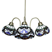 Tiffany Glass Chandeliers with 3 Lights