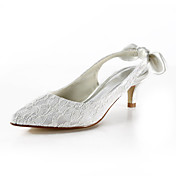 Lace Kitten Heel Pointy Toe/ Closed Toe Wedding Shoes(More Colors)