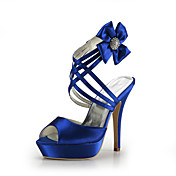 Satin Stiletto Heel Platform With Satin Flower Wedding Party Women's Shoes