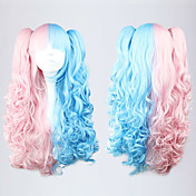 Lolita Curly Wig Inspired by Pink and Blue Mixed Color Ponytail 70cm Sweet