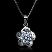 Fine Jewelry Elegant The plum blossom Zircon Sterling Silver Necklace