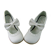 Cute White PU Leather 4.5cm High Heel Sweet Lolita Shoes with Bow
