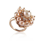 Elegant Rose Gold Plated/Platinum Plated Round Pearl Ring with Crystal(More Colors)