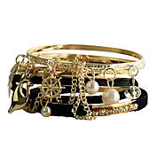 Black Leather Alloy Pearl Bracelet(7 Pcs)