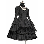 Long Sleeve Knee-length Black Terylene Gothic Lolita Dress