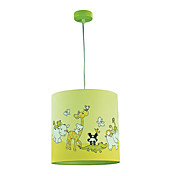 1 Light Cylindroid Pendant Light with Animals on the Lamp