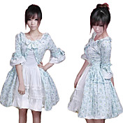 Half-Sleeve Knee-lengde Blue Floral Cotton Country Lolita Dress