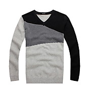 Casual Color Block V-neck Sweater