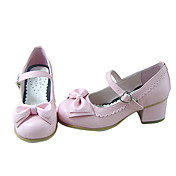 Pink PU Leather 4.5cm High Heel Sweet Lolita Shoes with Bow