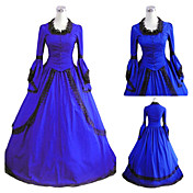 Long Sleeve Floor-length Blue Satin Gothic Lolita Dress