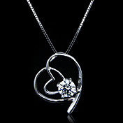 Fine Jewelry Lovely Cross Heart Zircon Sterling Silver Necklace