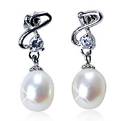 Gorgeous Sterling Silver Fresh Pearl Earrings with Crystal