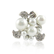 Gorgeous Platinum Plated/Rose Gold Plated Flower Shape Pearl Ring(More Colors)
