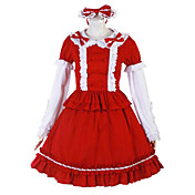 Long Sleeve Knee-length Red and White Cotton Cosplay Lolita Dress