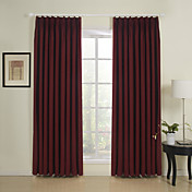 (Two Panels) Solid Red Linen Lined Curtains
