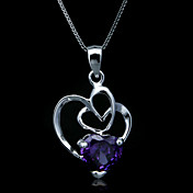 Fine Jewelry Elegant Amethyst Cross Heart Sterling Silver Necklace