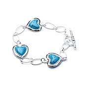 Elegant Fashion Jewelry Three Heart Imitation Gem Stone Silver Plate Bracelet