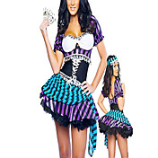 Fancy Purple And Blue Stripes Pirate Women Halloween Costume(2 Pieces)