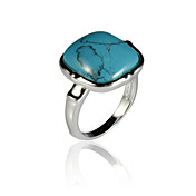 Elegant Alloy Square Imitation Gem Stone Ring