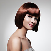 Capless Short Bob Brown Synthetic Wig Full Bang