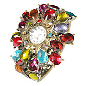 Charming Alloy with Multicolor Crystal Quartz Dress Watch
