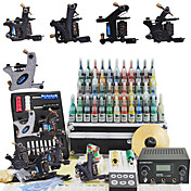 6 Tatoo Guns Kit con alimentazione Power LCD e 54 inchiostro a colori