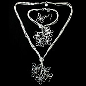Gorgeous Women Silver Plated mariposa Joyera Set incluyendo el collar, pulsera, pendiente