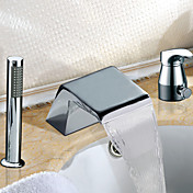 Widespread Two Handles Contemporary Chrome Finish Waterfall Tub Faucet With Handshower