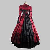 Long Sleeve Floor-length Red Satin Cotton Aristocrat Dress
