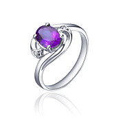 925 Sterling Silver Natural Amethyst Ring (0.216carat) (6 * 8mm)