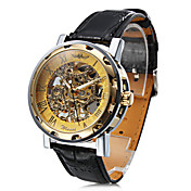 Unisex PU Analog Mechanical Fashionable Watch (Gold)