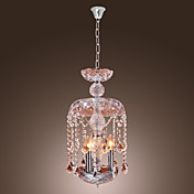 Modern Crystal Pendant Lights with 3 Lights in Glass Shade