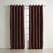 (Two Panels) Traditional Embossed Claret Suede Blackout Curtains